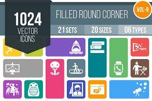 1024 Flat Round Corner Icons (V8)