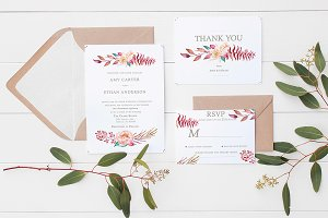 Floral Bouquet Wedding Invite