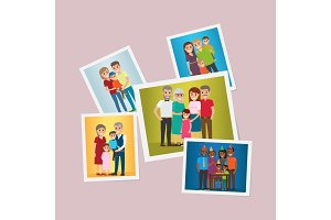 Happy Family Pinned Portraits Flat Vectors Set