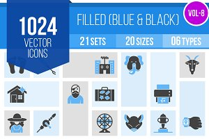 1024 Blue & Black Icons (V8)