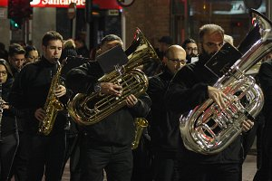 The brass band musicians.