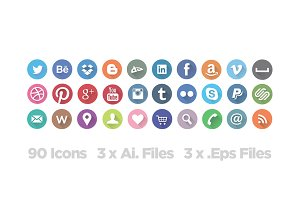 [-30%]Long Shadow Social Icon Set