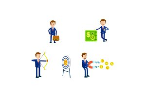 Businessman in Suit Character. Illustrations Set