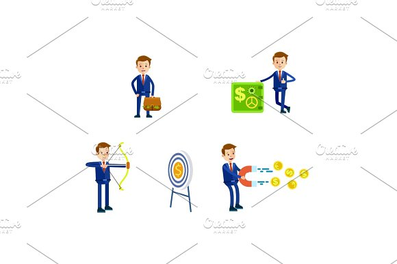 Businessman In Suit Character Illustrations Set