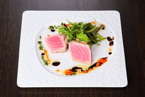 Tuna with salad on plate