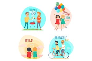 Friends forever. Friendship Day Illustrations Set