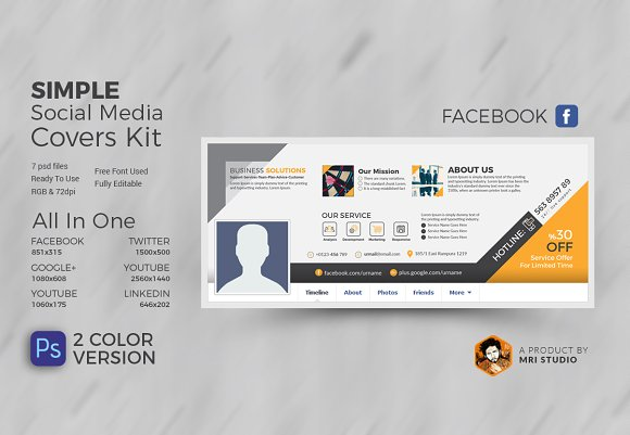 business social media covers facebook templates creative market