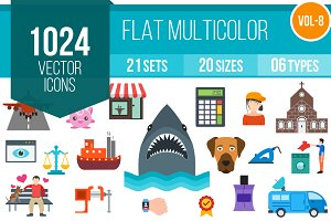 1024 Flat Multicolor Icons (V8)