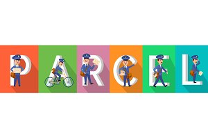 PARCEL Colourful Banner with Postman Character Set