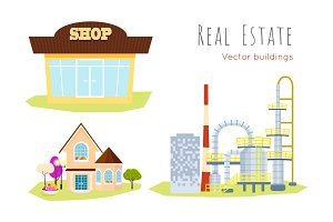 Real Estate. Vector Buildings Shop. House. Factory