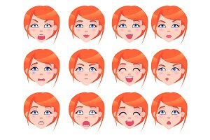 Set of Female Emotions of Red-haired Girl Flat
