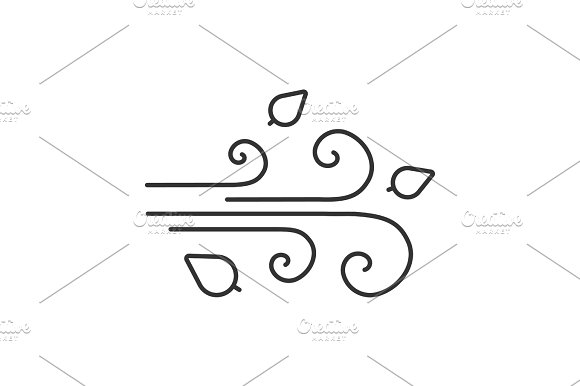 Wind Blowing Linear Icon