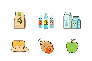 Lineart colored food icon set