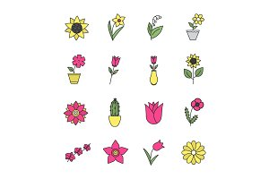 Flowers color icons set