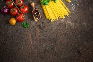 Italian food background.