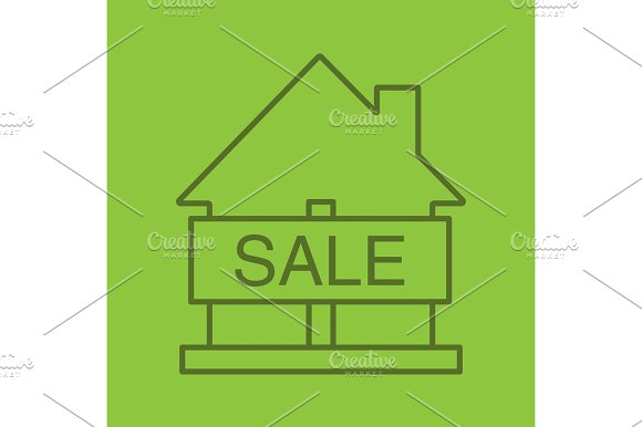 House For Sale Color Linear Icon