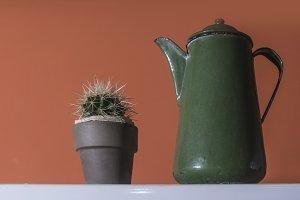 Green vintage kettle
