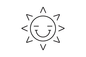 Happy sun smile linear icon