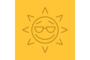 Cool sun smile linear icon