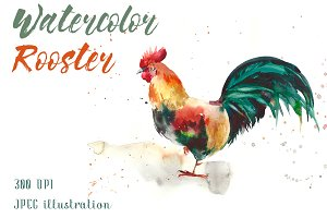 SALE! Watercolor rooster