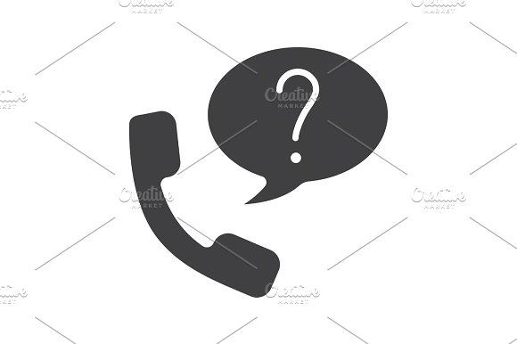 Ask Question By Phone Glyph Icon