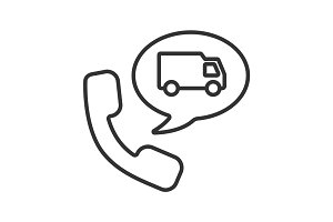 Phone call to delivery service linear icon
