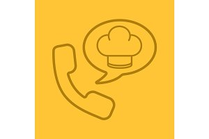 Food phone order color linear icon