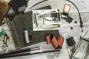 Vintage photo camera concept