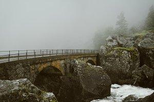 Old bridge in foggy Weather