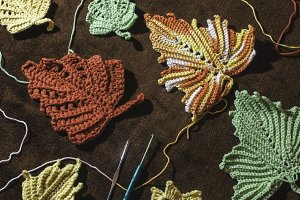 Knitted autumn leaves