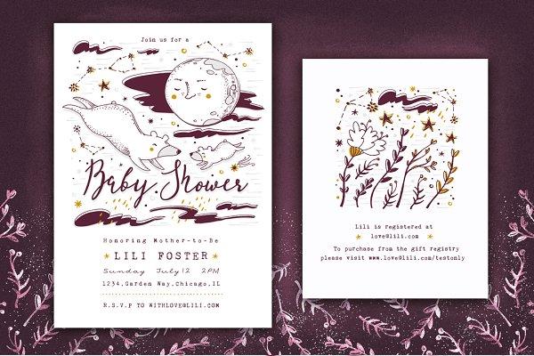 Baby Shower Set • Moon & Stars