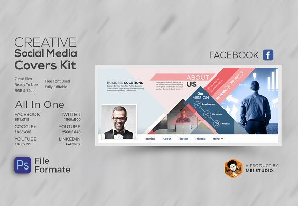 creative social media covers kit facebook templates creative market
