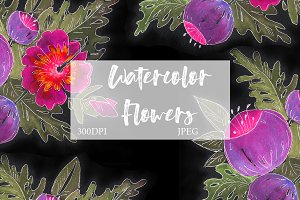 SALE! Watercolor vintage flowers
