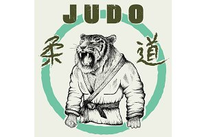 Judoka tiger dressed in kimono