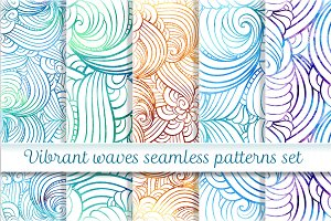 Vibrant waves seamless pattern set