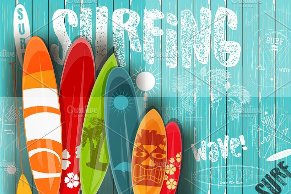 Surfing Retro Poster On Blue Wooden
