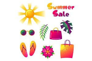 Summer sale colorful elements. Sun, palm leaves and shopping bags