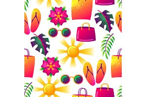 Summer seamless pattern with colorful elements. Sun, palm leaves and shopping bags