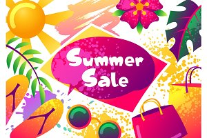Summer sale banner with colorful elements. Sun, palm leaves and shopping bags