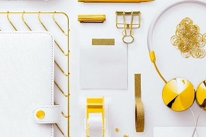 Grid Flatlay Gold Stationery White