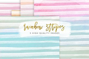 Rainbow Stripe Watercolour