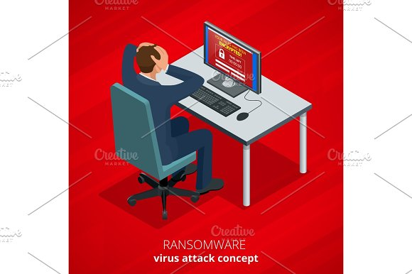 Ransomware Malicious Software That Blocks Access To The Victims Data Hacker Attacks Network Isometric Vector Illustration Internet Crime Concept E-mail Spam Viruses Bank Account Hacking