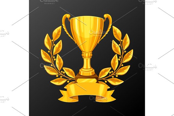 Realistic Gold Cup With Laurel Wreath Illustration Of Award For Sports Or Corporate Competitions