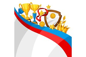 Realistic gold cup and other awards. Background with place for text for sports or corporate competitions