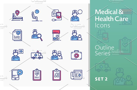 Medical Icons Set 2 Outline Series