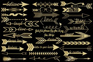 Gold Foil Arrow Clip Art,33 pngs