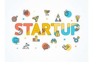 Start Up Concept Paper Art. Vector