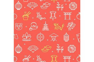 China Pattern Background. Vector