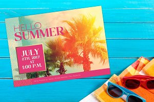 Bright Summer Beach Party Invite