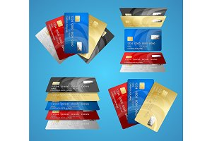 Credit Plastic Card Set. Vector